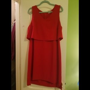 One Clothing Cherry Red Dress with Overlay 1X